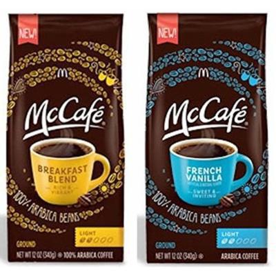 Mccafe Premium Ground Coffee 2 Flavor Variety Bundle: (1) Mccafe French Vanilla Ground Coffee, Light Roast, and (1) Mccafe Premium Breakfast Blend Ground Arabica Coffee, 12 Oz. Ea. (2 Bags Total)