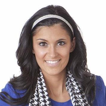 Hipsy Women's Adjustable NO SLIP Skinny Bling Glitter Headband (White)