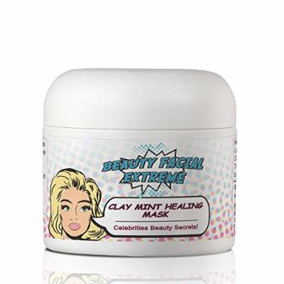 Clay Mint Healing Mask- Best facial treatment to minimize pores & clears your skin from acne, acne scars, pimples, whiteheads & blackheads. Can be used on both face & body. Improves your overall complexion.