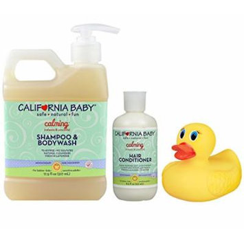 California Baby Calming Shampoo & Bodywash with Conditioner and Bonus Heat Sensing Bath Duck