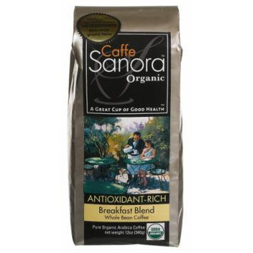 Caffe Sanora Organic Antioxidant-Rich, Breakfast Blend Whole Bean Coffee, 12-Ounce Bags (Pack of 2)