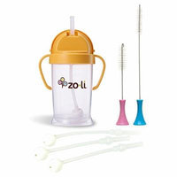 Zoli Baby BOT Straw Sippy Cup, Orange with Replacement Straws & Cleaning Set