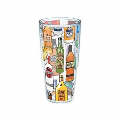 Tervis Liquor Bottles Wrap Tumbler with Black Shaker Lid, 24 oz, Clear