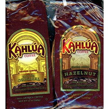Kahlua Brand Ground Coffee 2 Varieties: One 12 Oz Bag Each of Their Original and Hazelnut Flavors