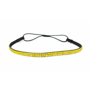 Two Row Bling Rhinestone Headband/ Elastic Stretch/ Rhinestone Hair Band Hair Accessory (Yellow Thin Headband)