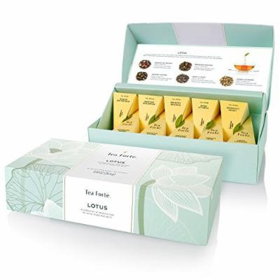 Tea Forte LOTUS Petite Presentation Box with 10 Handcrafted Pyramid Tea Infusers - Black Tea, Green Tea, Oolong Tea, White Tea, Herbal Tea