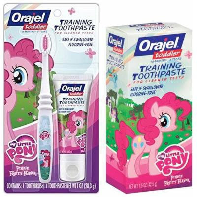 Orajel My Little Pony Toddler Training Kit! Ready...Set...Brush! 3 Piece Set Includes: (1) My Little Pony Toddler Training Toothpaste & Pinkie Fruity Soft Manual Toothbrush PLUS BONUS Toothpaste!