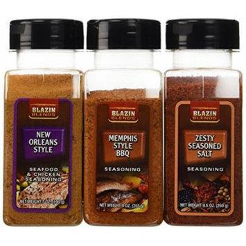 Blazin Blends Variety 3 pack Seasonings and Rubs - Memphis Style BBQ Rub 9 oz. - New Orleans Style Rub 7 oz. - Zesty Seasoned Salt 9.5 oz.