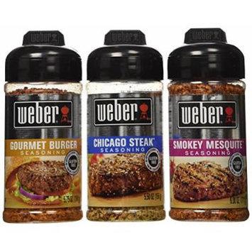 Weber All Natural Seasoning Blend 3 Flavor Variety Bundle: (1) Weber Chicago Steak Seasoning Blend, (1) Weber Gourmet Burger Seasoning Blend, and (1) Weber Smokey Mesquite Seasoning Blend, 5.5 - 6.0 Oz. Ea.