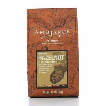 12oz Ambiance Premium Ground Coffee Hazelnut, Medium Roast, Pack of 1