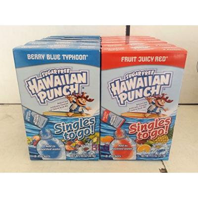 Hawaiian Punch Soft Drink Mix Combo (Berry Blue Typhoon,Fruit Juicy Red)