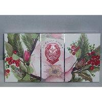 La Florentina Soap Festive Holiday Gift Box Set of 3 5.3oz Soaps (Rose)