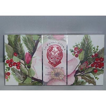 La Florentina Soap Festive Holiday Gift Box Set of 3 5.3oz Soaps (Rose)