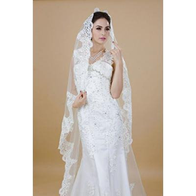 Nero Women's Princess 1 Tier Chapel Length Bridal Wedding Veils with Lace Edge (White)