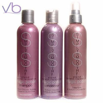 Simply Smooth Xtend Keratin Repairative Shampoo 8.5oz with Conditioner 8.5oz and Magic Potion Treatment 8.5oz