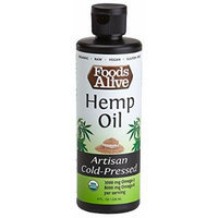 Foods Alive Hemp Seed Oil, Artisan Cold-Pressed, Organic, 8oz (Pack of 2)