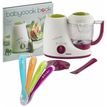Beaba Babybook Classic Baby Food Maker with Cookbook & Silicone Spoons