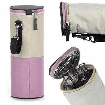Travel Portable Baby Kid Feeding Milk Bottle Warmer Storage Holder Carrier Bag: Pink Color