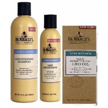 Dr. Miracles Trio Set (Conditioning Shampoo, Deep Conditioner, Dr. Miracle's Daily Moisturizing 4-ounce Gro Oil) Plus 1 Free Baby Pink NYX Pencil