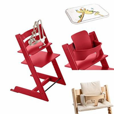 Stokke - Tripp Trapp - Red High Chair, Red Baby Set, Beige Stripe Cushion & Table Top