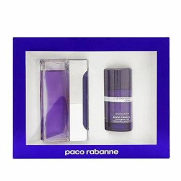 Ultraviolet By Paco Rabanne For Men. Gift Set ( Eau De Toilette Spray 3.4 Oz + Alcohol Free Deodorant Stick 2.1 Oz ).