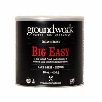 Groundwork Coffee, Organic Big Easy, Ground, 16-Ounce Cans (Pack of 2)