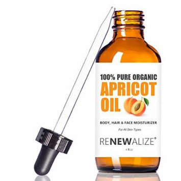 Organic Apricot Kernel Oil by Renewalize in LARGE 4 OZ. DARK GLASS BOTTLE with Glass Eye Dropper , Highest Quality 100% Pure and Unrefined , A Fantastic Light Massage Oil , Softens Dry Skin , An Excellent Carrier Oil for Mixture with Essential Oils ,...