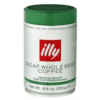 Illy decaffeinated whole coffee beans. 8.8oz coffee can