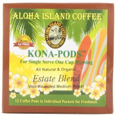 Aloha Island Coffee KONA-POD, Estate Blend Medium Roast, Kona & Hawaiian Coffee Blend, 12-Count Coffee Pods