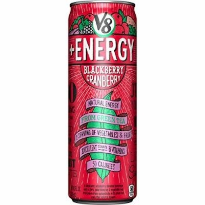 V8 +Energy Lightly Carbonated, Blackberry Cranberry, 12 Ounce (Pack of 12)