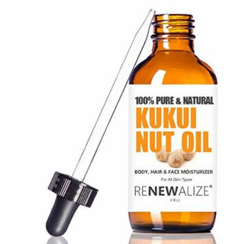 Kukui Nut Oil by Renewalize in LARGE 4 OZ. DARK GLASS BOTTLE with Glass Eye Dropper , Highest Quality 100% Pure , Cold Pressed Oil , Non-GMO , A Fantastic Light Massage Oil