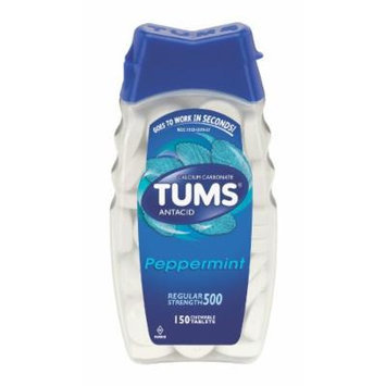 Tums Antacid, Regular Strength, Chewable Tablets, Peppermint, 150-Count Bottles (Pack of 4)