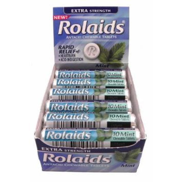 Extra Strength Rolaids Antacid Chewable Tablets 12 Rolls X 10 Tablets. New!