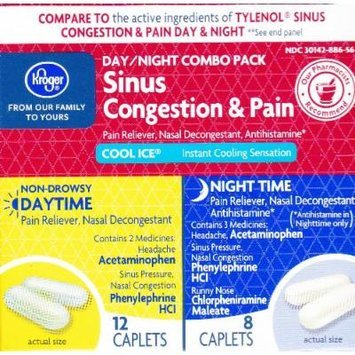 Kroger Sinus Congestant & Pain Daytime/Nighttime, Compare to active ingredient in Tylenol Sinus Congestion & Pain