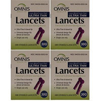 Omnis Ultra Thin Universal Fit Sterile Lancets 30G 100 ea per Box 4 PACK Total 400 ea