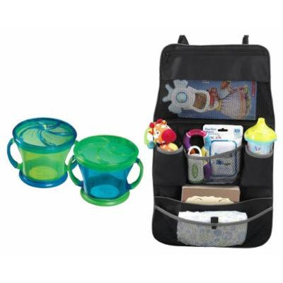 Munchkin Snack Catcher 2 Pack with Backseat Organizer, Green/Blue