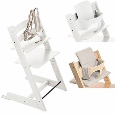 Stokke White Tripp Trapp Chair w Grey Loom Cushion & Baby Set (White)