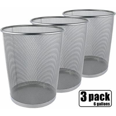 Greenco Mesh Wastebasket Trash Can, 6 Gallon, Silver, 3 Pack