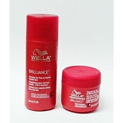 Wella Brilliance Shampoo 1.7 oz + Brilliance Treatment 0.84 oz. for Fine/Normal Colored Hair Travel Size Set