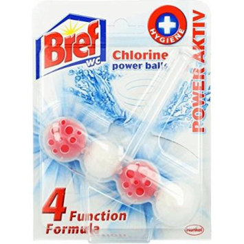 Bref by Henkel - Automatic Toilet Cleaning Power Balls - 4 Functions - with Chlorine - 6 Count (2 x 3)