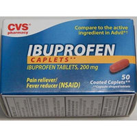CVS Pharmacy Ibuprofen Caplets Tablets 200mg Pain Reliever Fever Reducer (NSAID), 1 Bottle of 50 Coated Caplets