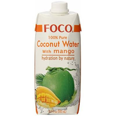 FOCO Pure Coconut Water with Mango, 16.9 Ounce (Pack of 12)