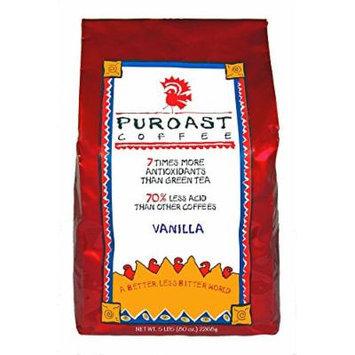 Puroast Low Acid Coffee Vanilla Flavored Coffee Drip Grind, 5-Pound Bag