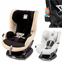 Peg Perego Primo Viaggio Infant Convertible Car Seat w Clima Cover, White & Cup Holder (Paloma)