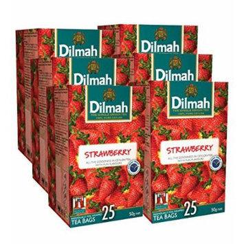 Dilmah Fun Tea, Single Origin Pure Ceylon, 25 Count Individually Foil Enveloped Tea Bags, 150 Tea Bags Total (Pack of 6) (Strawberry)