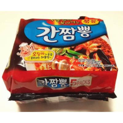 Instant Noodle Ramen Korean Hot Spicy Seafood Flavor Samyang GanChamPong 4.93 oz (5 Packs) Stir Fried