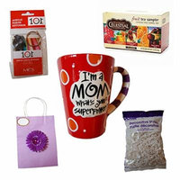 I'm a Mom What's Your Superpower? Mother's Day Mug Gift Set - Great Gift for Mother - Includes Mug, Tea Sampler, Picture Keychain, Flower Gift Bag and Filler - Perfect Gift for Your Mother