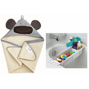 3 Sprouts Hooded Towel with Bath Storage Basket, Gray Monkey
