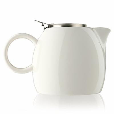 Tea Forté PUGG 24oz Ceramic Teapot with Improved Stainless Tea Infuser, Loose Leaf Tea Steeping For Two, Orchid White