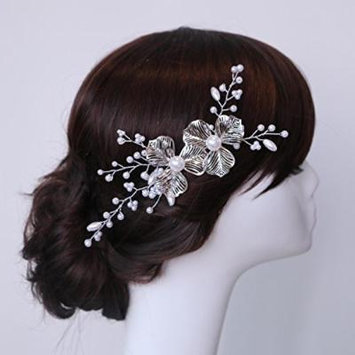 Nero Wedding Hair Accessories with Flowers, Bridal Hair Pins for Women (2 Set)